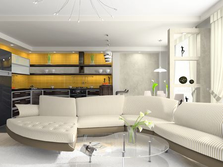 Interior of the modern apartment. Photo on wall was made by me, I uploaded models release