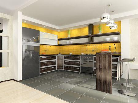fridge lamp: Modern kitchen Stock Photo