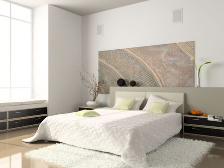 furnishing: Interior of the comfortable bedroom 3D rendering. Photo on magazine was made by me, I uploaded models release Stock Photo