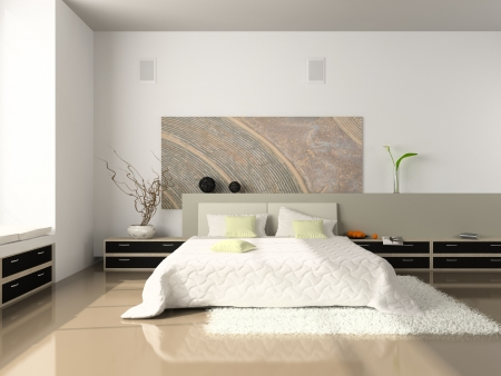 Interior of the comfortable bedroom 3D rendering. Photo on magazine was made by me, I uploaded models release Imagens