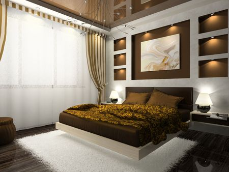 release: Interior of comfortable bedroom in brown color. Photo on magazine was made by me, I uploaded models release Stock Photo