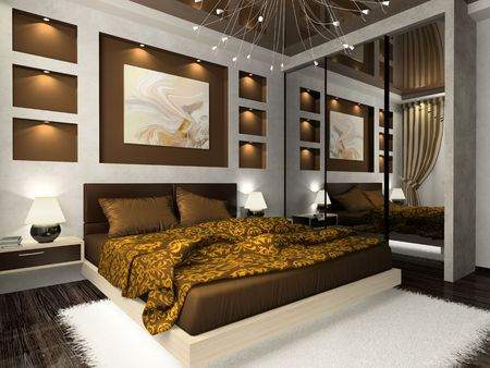 Interior of the comfortable bedroom in brown color Imagens