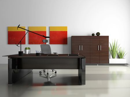 Interior of the private office 3D rendering photo