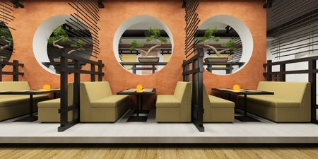 Modern cafe in Japanese style 3D rendering Stock Photo - 3116646