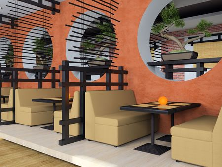 Modern cafe in Japanese style 3D rendering Stock Photo - 3116648