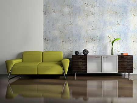 furnishing: View on the modern interior 3D Stock Photo