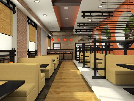 Modern cafe in Japanese style 3D rendering Stock Photo - 3142530