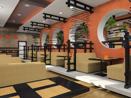 stylish chair: Modern cafe in Japanese style 3D rendering