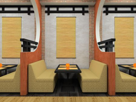 Modern cafe in Japanese style 3D rendering Stock Photo - 3142531