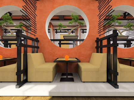 Modern cafe in Japanese style 3D rendering Stock Photo - 3142528