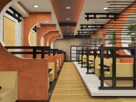 modern interior: Modern cafe in Japanese style 3D rendering
