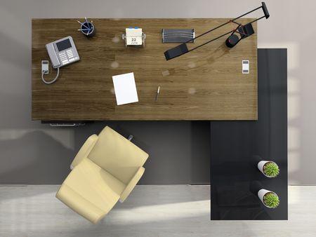 trompo de madera: Vista desde arriba de la moderna oficina en 3D