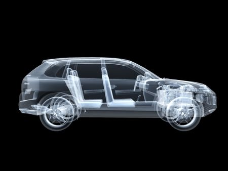 wire frame: X-ray photography of the car 3D Stock Photo
