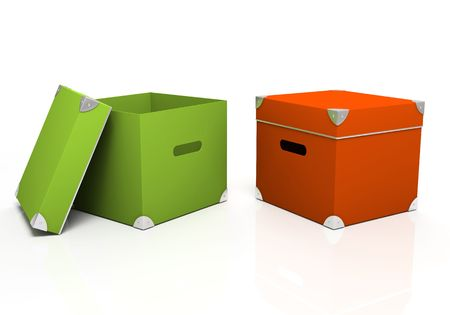 packer: Green and red boxes isolated on background 3D Stock Photo