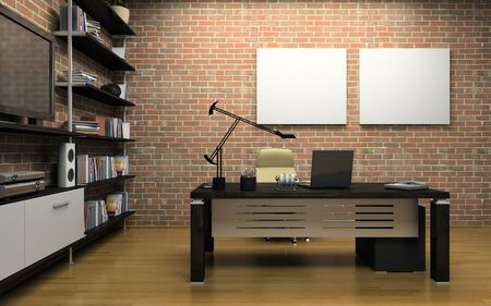 office chair: Interior of the private office 3D Stock Photo