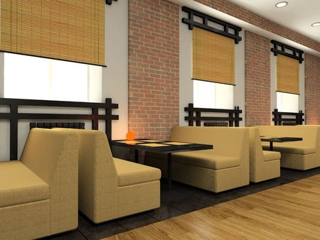 Modern cafe in Japanese style 3D Stock Photo - 3175141