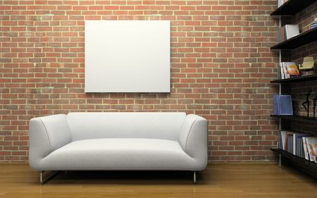 furnishing: Modern interior with brick wall and white sofa 3D Stock Photo