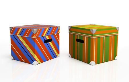 packer: Multicolored cardboard boxes isolated on background 3D Stock Photo