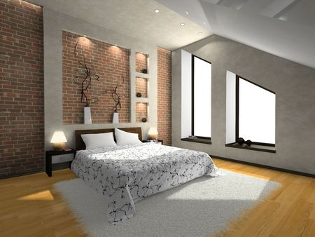 View on the modern bedroom 3D. Photo in magazine was made by me, I uploaded models release