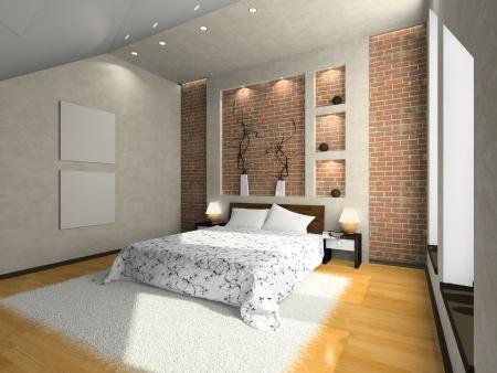 Vue sur la chambre à coucher moderne 3D. Photo du magazine a été faite par moi, j'ai téléchargé le modèle de la libération Banque d'images - 3341721