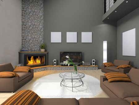 View on the modern living-room 3D
