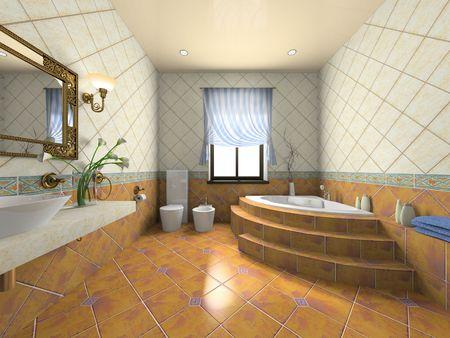 chamber: Interior of the modern bathroom 3D