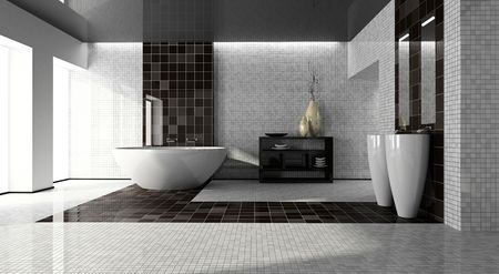 interior lighting: Interior of the modern bathroom 3D