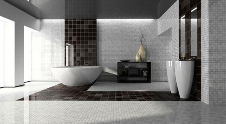 bathroom tiles: Interno del bagno moderno 3D