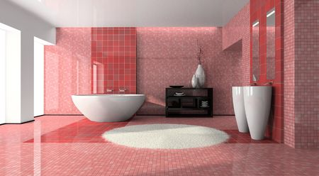 Interior of the modern bathroom 3D photo