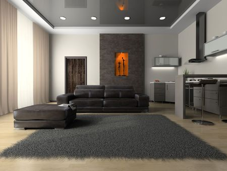 View on the modern room 3D rendering Imagens