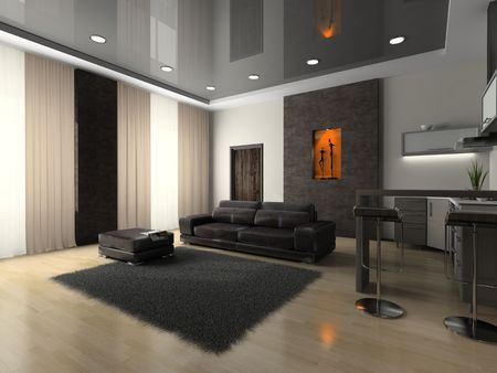 hassock: View on the modern room 3D rendering Stock Photo