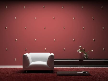 Interior of the modern room with red wall 3D
