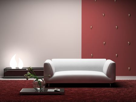 Interior of the modern room with red wall 3D.