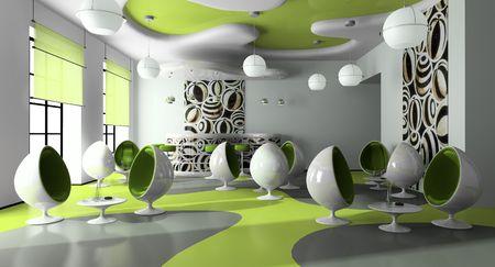 Inneren das modernes Caf�-3D-Rendering Lizenzfreie Bilder