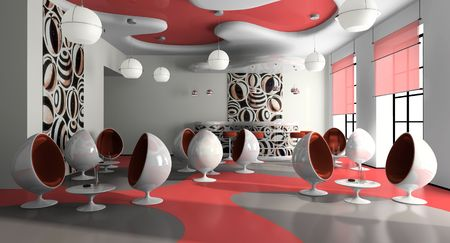 bar stool: Interior of the modern cafe 3D rendering Stock Photo