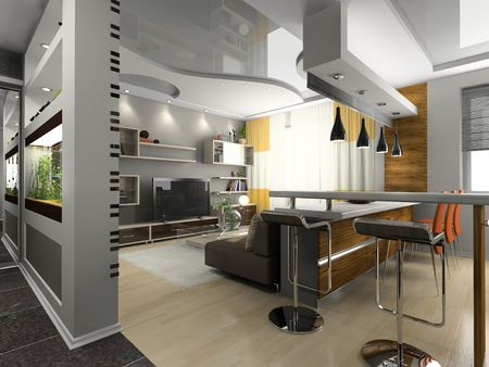 niche: View on the modern apartment 3D
