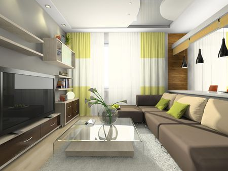 View on the modern apartment 3D