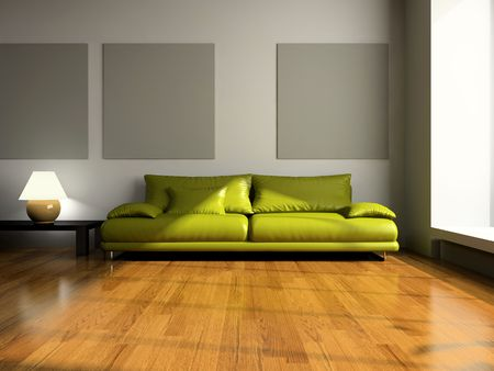View on the modern room 3D rendering Stock Photo