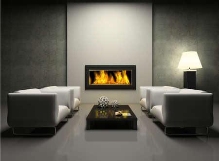 modern interior: Modern interior with fireplace 3D rendering. Photo in magazine was made by me, I uploaded models release Stock Photo