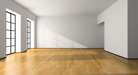 unfurnished: View on the empty room 3D rendering Stock Photo