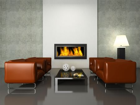release: Modern interior with fireplace 3D rendering. Photo in magazine was made by me, I uploaded models release Stock Photo