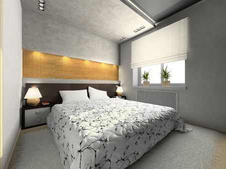 blind: View on the modern bedroom 3D rendering Stock Photo