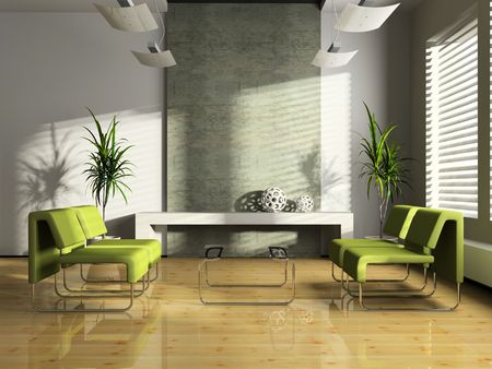 Interior of the modern waiting-room 3D Imagens