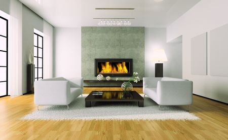 Blick auf die moderne Interieur mit Kamin 3D-Rendering