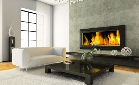 View on the modern interior with fireplace 3D rendering photo