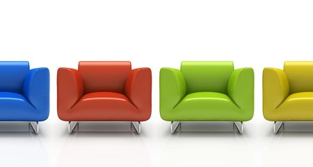 Four colourful armchairs isolated on white background 3D Stock Photo