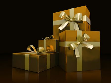 Luxurious gift boxes isolated on black background 3D