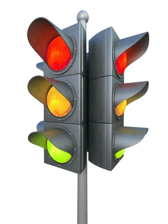 permit: Traffic light isolated on white background 3D rendering Stock Photo