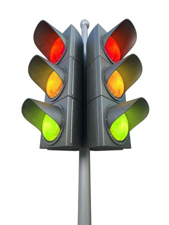 onward: Traffic light isolated on white background 3D rendering Stock Photo