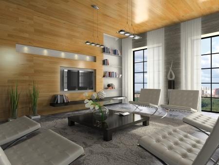Uitzicht op het moderne appartement 3D